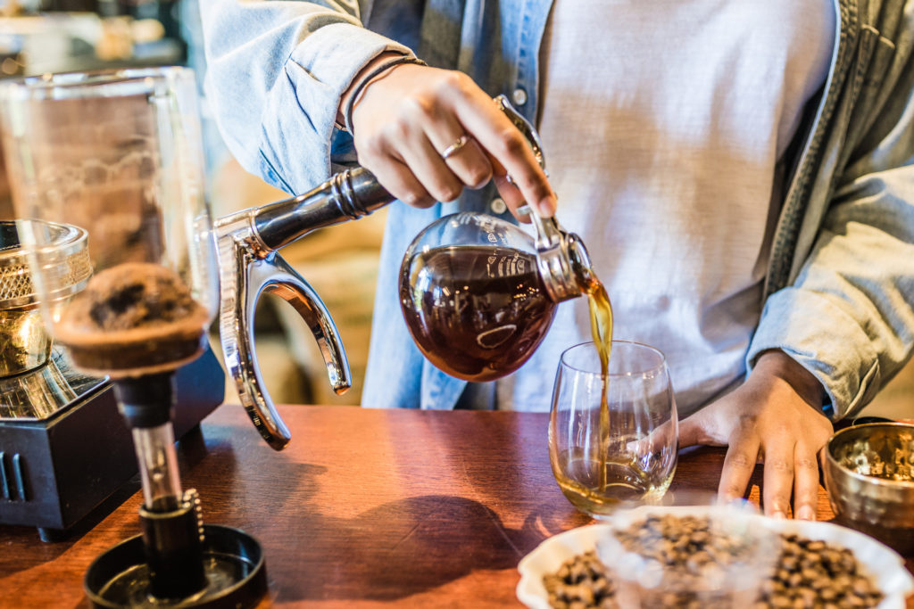 Siphon brewed coffee