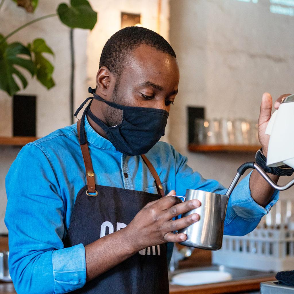 Masked barista