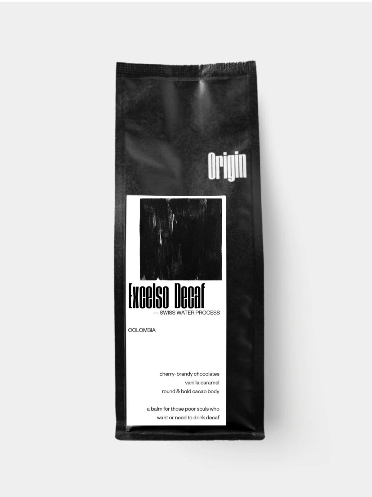 Colombia Excelso SW Decaf on the 250g bag