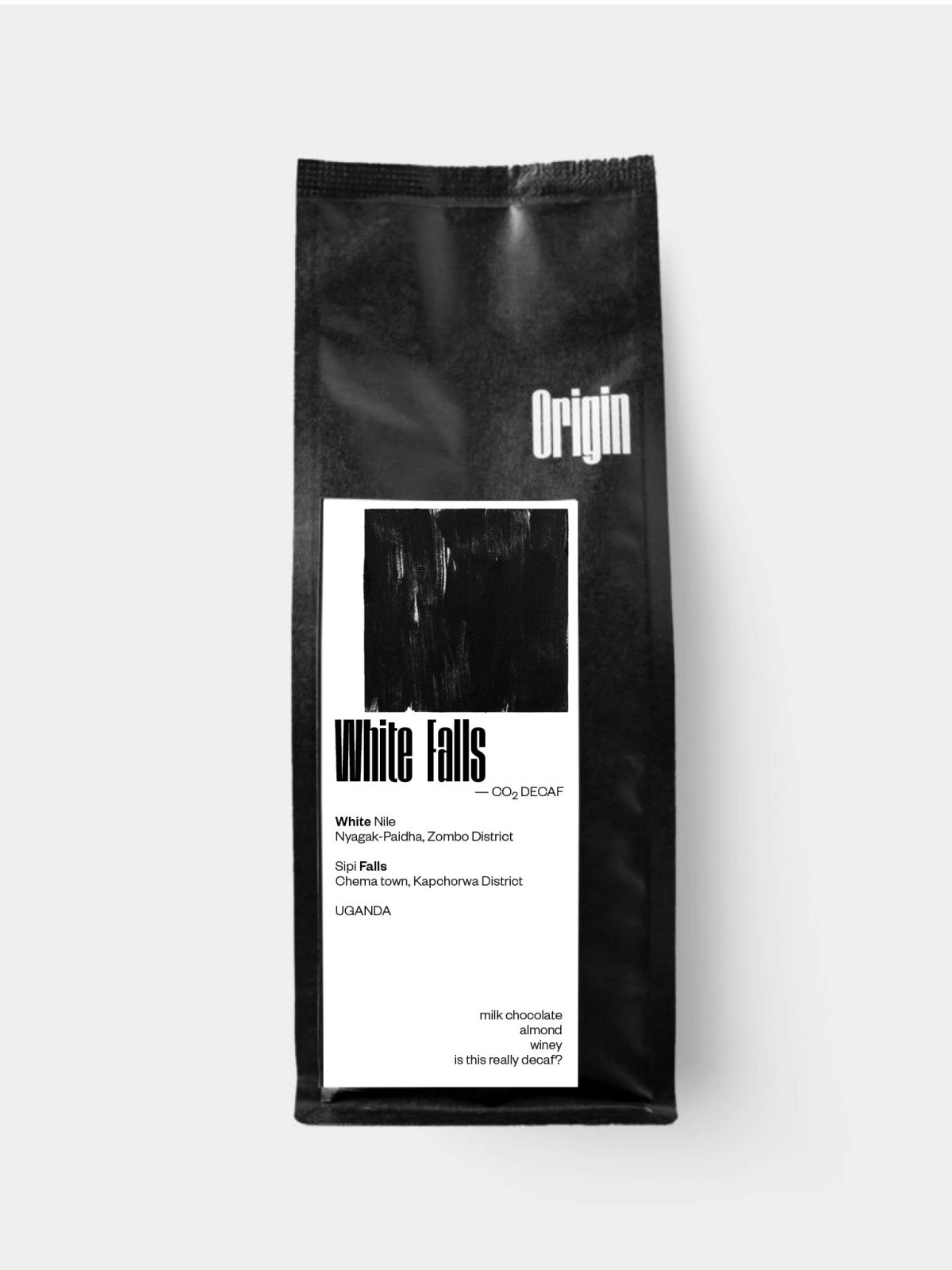 Uganda White Falls Decaf - on the 250g bag bkgd